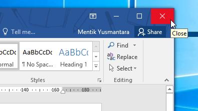 Cara Menutup Microsoft Word dengan Kontrol Jendela