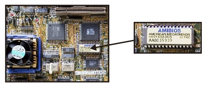 Chip EEPROM dari AMI BIOS pada Motherboard Komputer (Foto Intel)