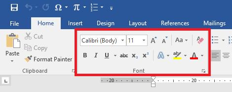 Grup perintah Font pada Ribbon Home Microsoft Word