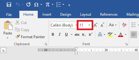 Perintah Font Size di Ribbon Home