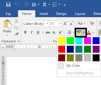 Perintah Text Highlight Color di Word
