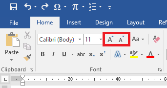 Perintah Increase dan Decrease Font Size di Ribbon Home