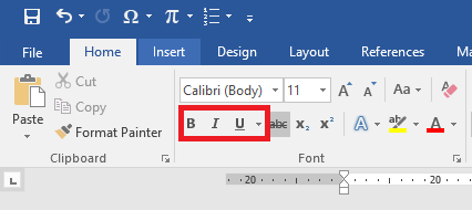 Posisi gambar ikon Bold, Italic, dan Underline di Microsoft Word