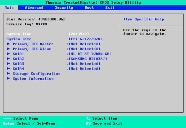 Tampilan Main BIOS