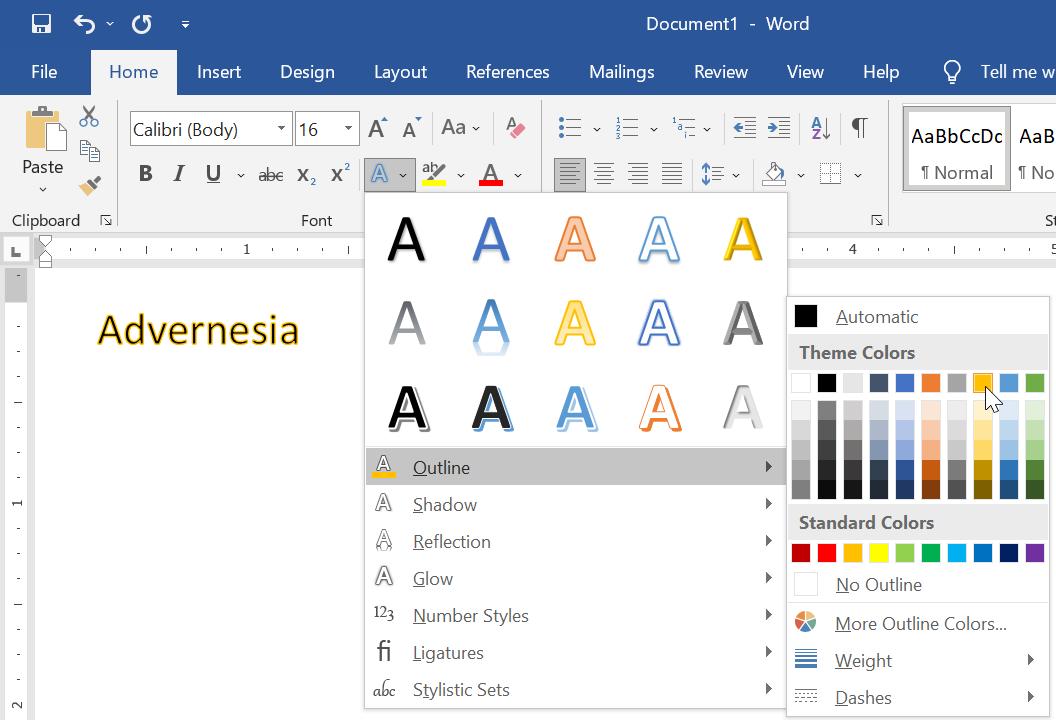 Cara Memberi Warna Outline Terhadap Teks di Word