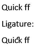 Contoh Efek Tulisan Ligatures di Microsoft Word