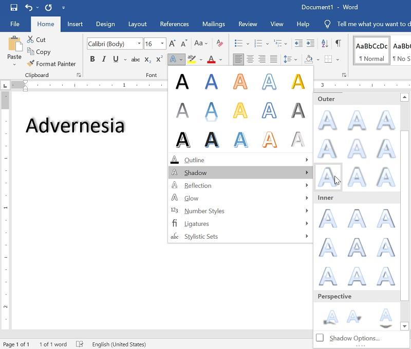 Memilih Efek Shadow terhadap Teks di Microsoft Word