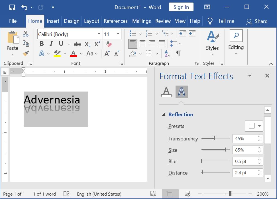 Menyesuaikan Efek Reflection melalui Panel Format Text Effects