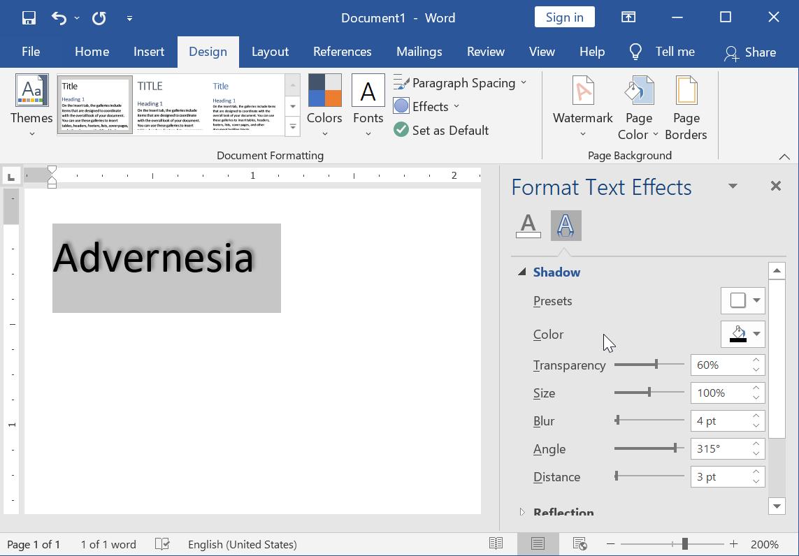 Menyesuaikan Efek Shadow melalui Panel Format Text Effects