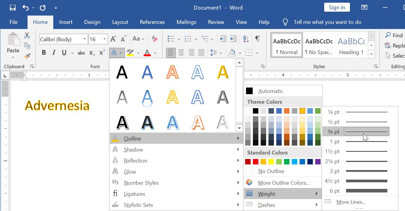 Menyesuaikan Weight Efek Outline di Microsoft Word