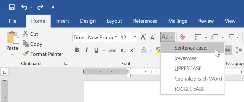 Perintah Change Case di Microsoft Word
