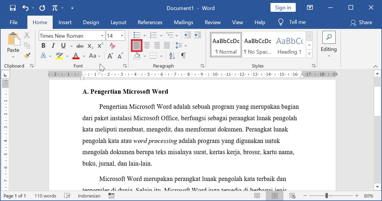 Align Left - Contoh Perataan Paragraf Kiri di Microsoft Word
