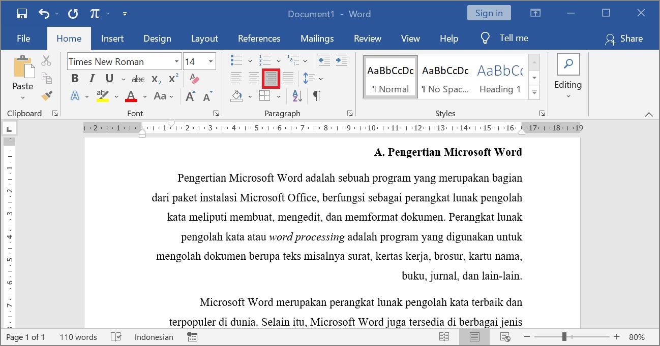 Align Right - Contoh Perataan Paragraf Kanan di Microsoft Word