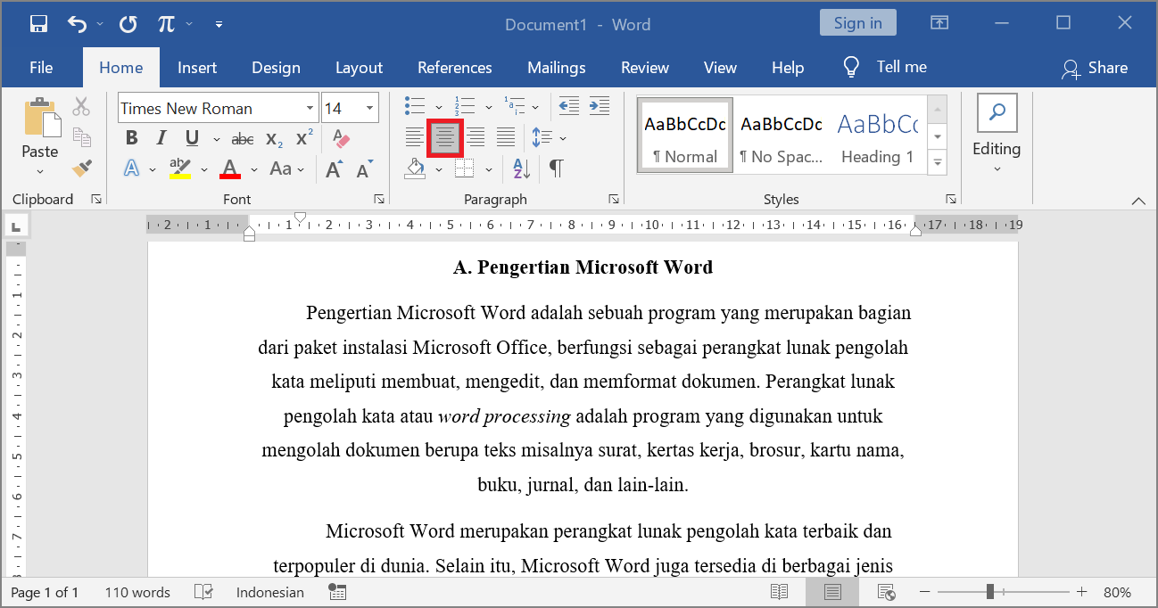 Center - Contoh Perataan Paragraf Tengah di Microsoft Word