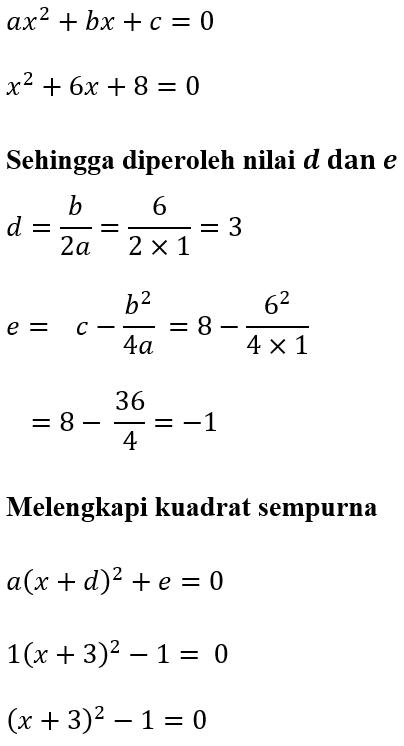 Contoh 1 Melengkapi Kuadrat Sempurna x^2+6x+8