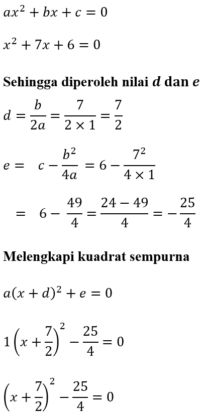 Contoh 2 Melengkapi Kuadrat Sempurna x^2+7x+6