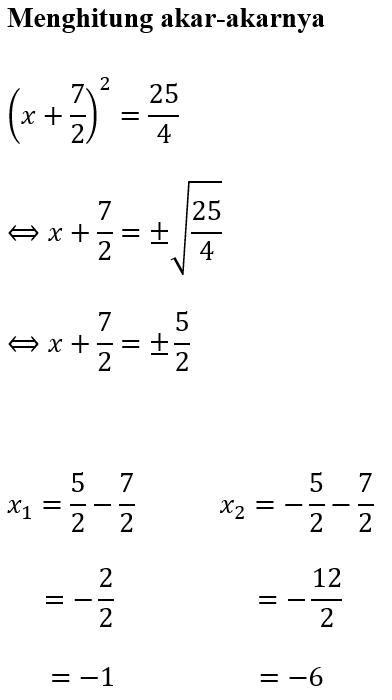 Contoh 2 Mencari Akar-Akar x^2+7x+6
