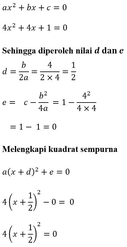 Contoh 3 Melengkapi Kuadrat Sempurna 4x^2+4x+1