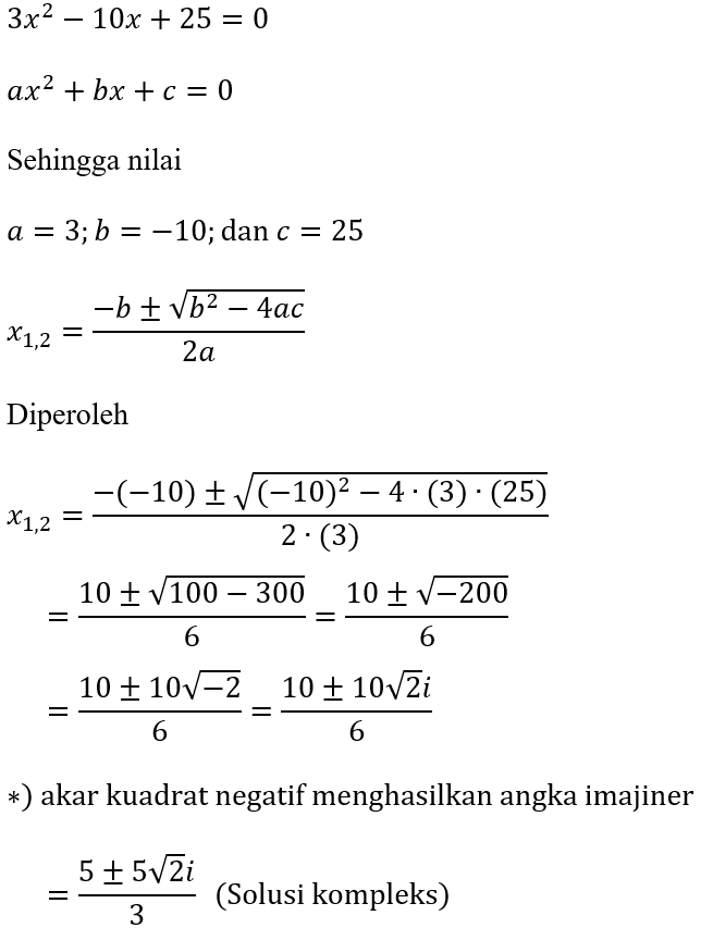 Contoh Rumus ABC dari 3x^2-10x+25=0