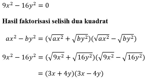 Hasil Faktorisasi dengan Metode Selisih Dua Kuadrat