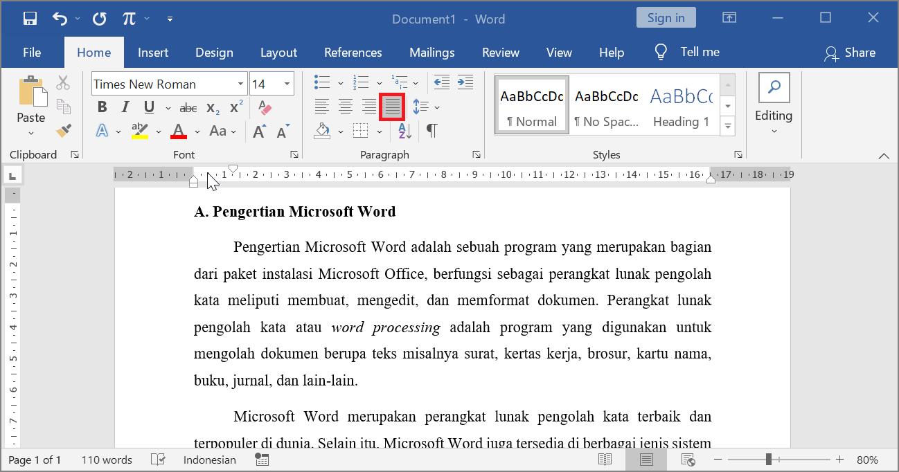 Justify - Contoh Perataan Paragraf Kanan Kiri di Microsoft Word