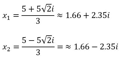 Solusi Akar-akar persamaan kuadrat 3x^2-10x+25=0 dengan Rumus ABC