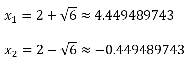 Solusi Akar-akar persamaan kuadrat x^2-4x-2=0 dengan Rumus ABC