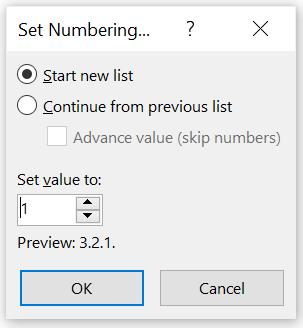 Dialog Set Number di Microsoft Word