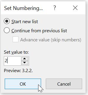 Menyesuaikan Dialog Set Number Value di Word
