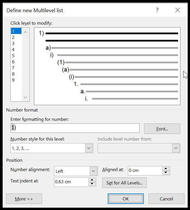 Kotak dialog Define new Multilevel list di Word
