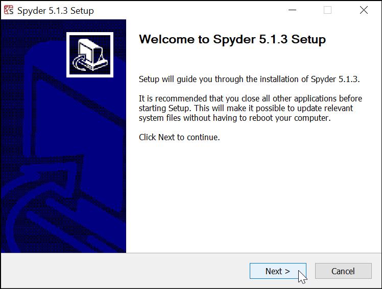 Dialog Instalasi Spyder IDE Windows