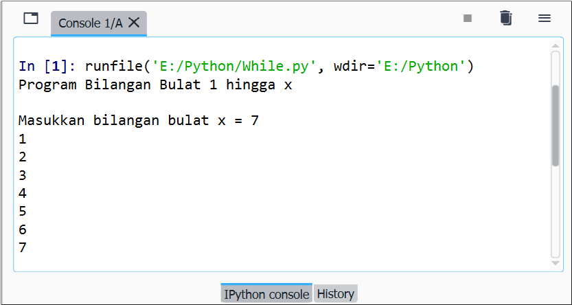 Gambar 1. Ilustrasi eksekusi file kode program while Python