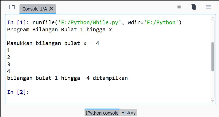 Gambar 2. Ilustrasi eksekusi file kode program while else Python