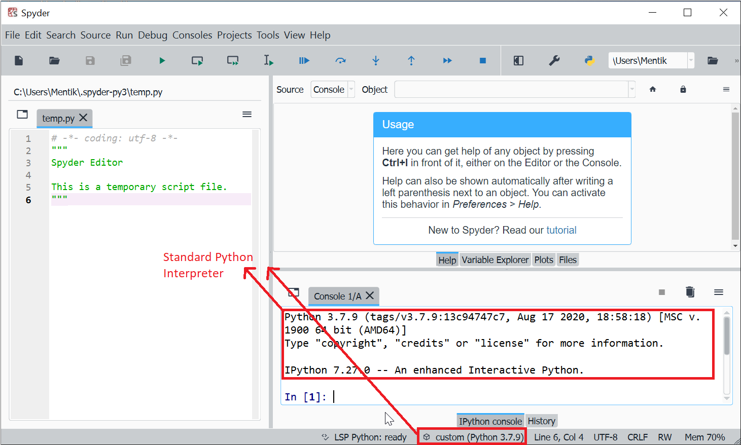 Ilustrasi Spyder dengan Interpreter Python Standard