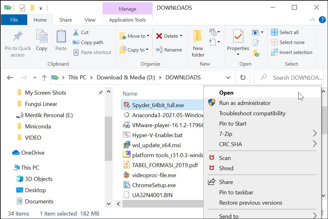 Membuka Installer Spyder IDE for Windows
