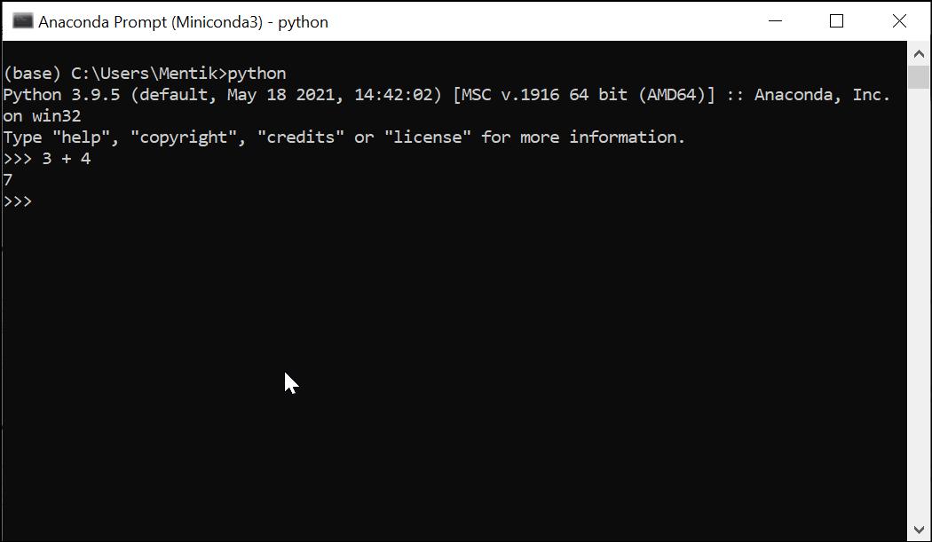 Membuka Python Interpreter di Anaconda Prompt (Miniconda3)