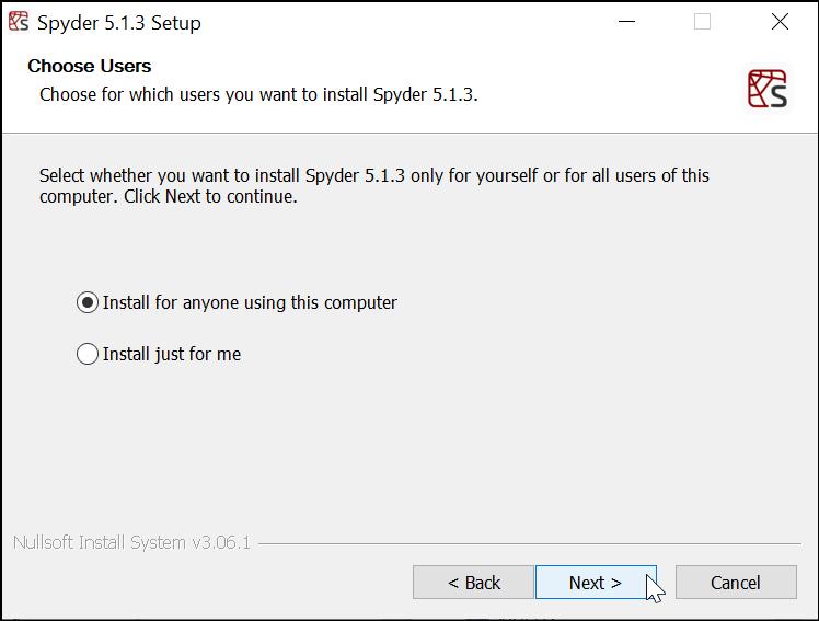 Memilih User yang Menggunakan Spyder IDE