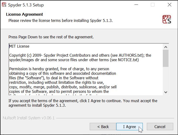 Menyetujui Perjanjian Lisensi Software Spyder IDE