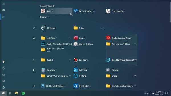 Shortcut Spyder IDE di Start Menu Windows